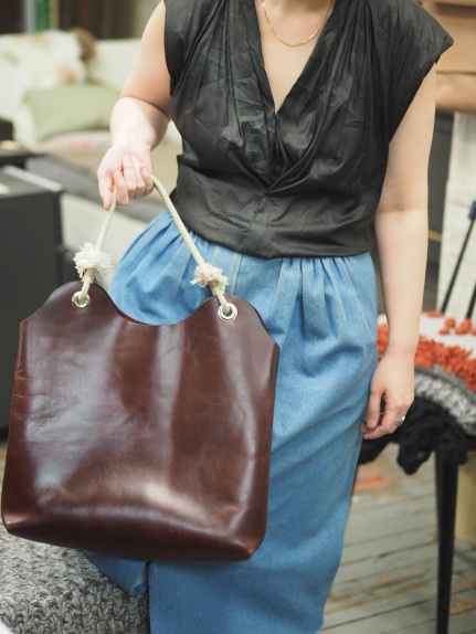 Mary & her first handmade leather shoulder bag