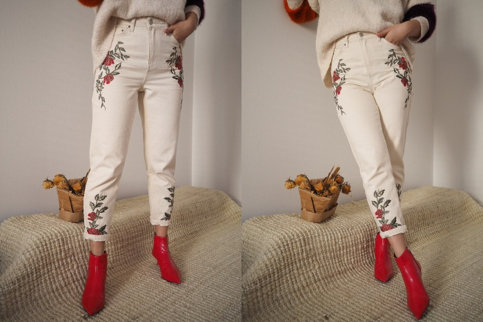 ​Embroidered Mom Jeans: TOPSHOP Ankle Boots: ZARA