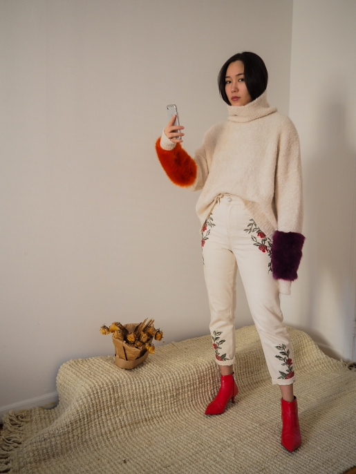 Sweater with Contrasting Fabric Cuffs: ZARA; Embroidered Mom Jeans: TOPSHOP; Ankle Boots: ZARA