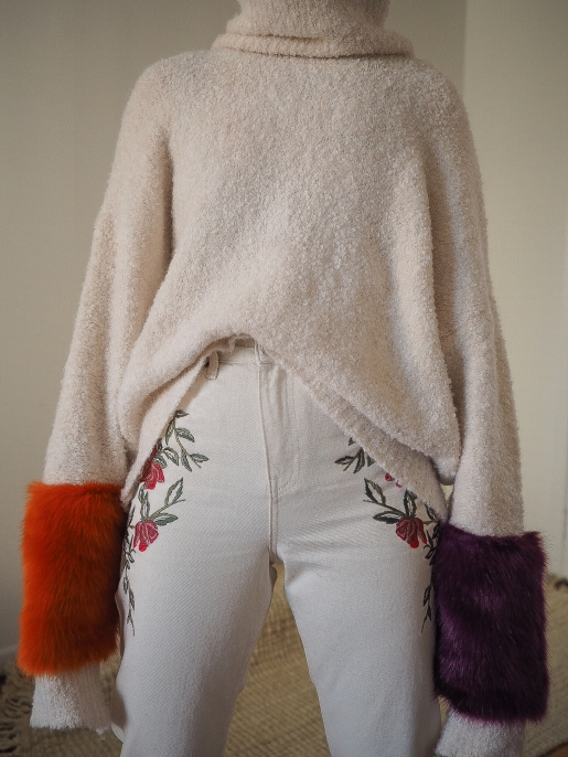 Sweater with Contrasting Fabric Cuffs: ZARA Embroidered Mom Jeans: TOPSHOP